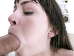 Teen With A Talented Pierced Tongue Sucks Big Cock