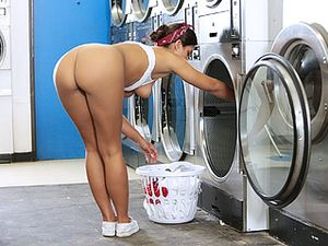 Washing Clothes And Milking The Big Cock Of Cum