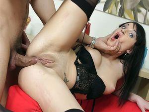 Anal Dildo Sex For The Bent Over Lingerie Girl