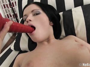 Big Dildo And A Dick Fucking Her Tight Asshole