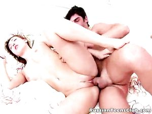 Slutty Russian Girl Loves Being Fucked By Two Guys