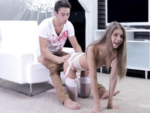 Lingerie Hottie Surprises Her Man With A Hot Blowjob