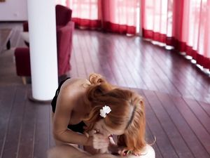 Stroking And Cocksucking From A Hot Teen Redhead