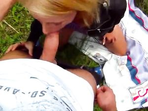 Teen Paid To Suck Hard Cock In The Green Grass