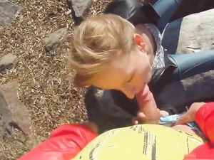 Giving A Public Blowjob Turns On This Blonde Teen