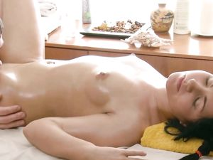 Slick Body Girl Rides Dick On The Massage Table