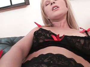 Young Blonde Lingerie Hottie Fucked In The Butt