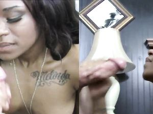 Cute Black Girl Covered In His Sticky Cumshot