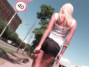 Braless Girl In Booty Shorts Loves Public Teasing Fun