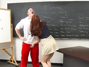 Classroom Cum Shot For A Pretty Redhead After Fucking