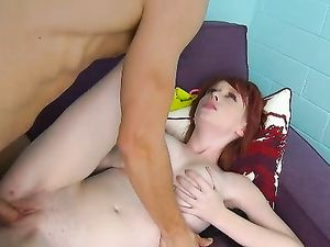 Milky White Redhead With Big Tits Riding A Cock