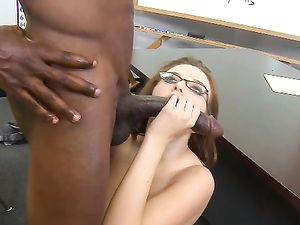 Nerdy Redhead Sucking And Riding A Big Black Dick