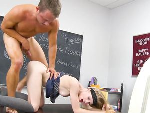 Sticky Man Juice On Her Body After Fucking In The Classroom
