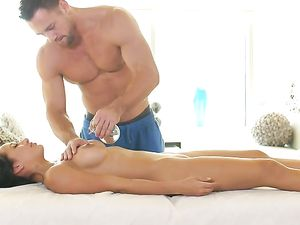 Erotic Oil Massage And Doggy Style With A Brunette