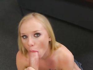 Pink Lingerie Blonde Sucking A Long Dong