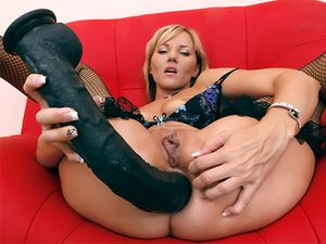 Long Black Dildo For Her Narrow Asshole